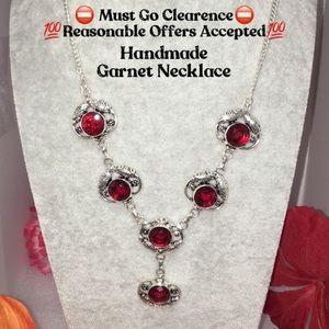 Natural Garnet Gemstone Handmade Necklace